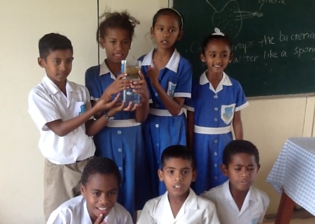 Students at the Sabeto Central School explaining their experiment on camera