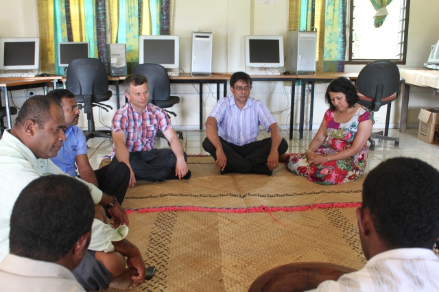 Kava ceremony at the school
