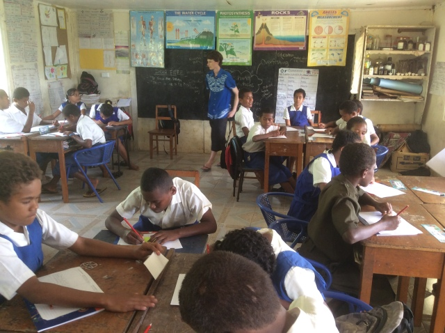 Teaching students in class 5