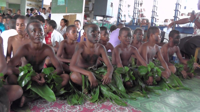 Students performing a meke - Fijian dance