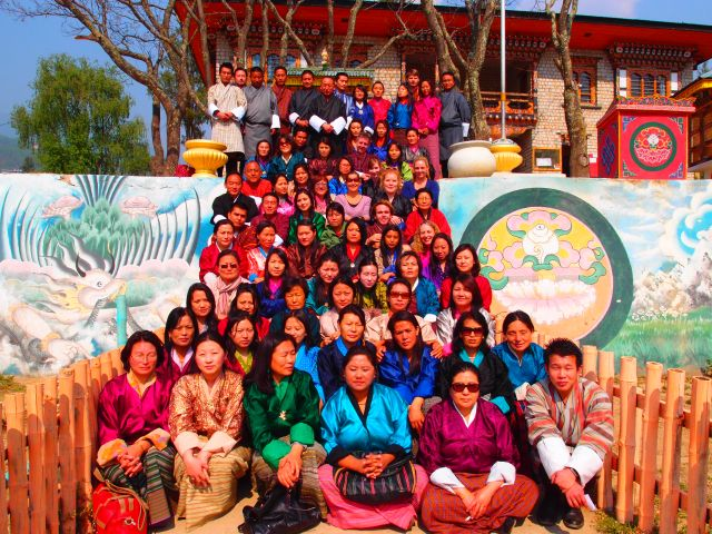 QUT students with teachers at a school in Bhutan