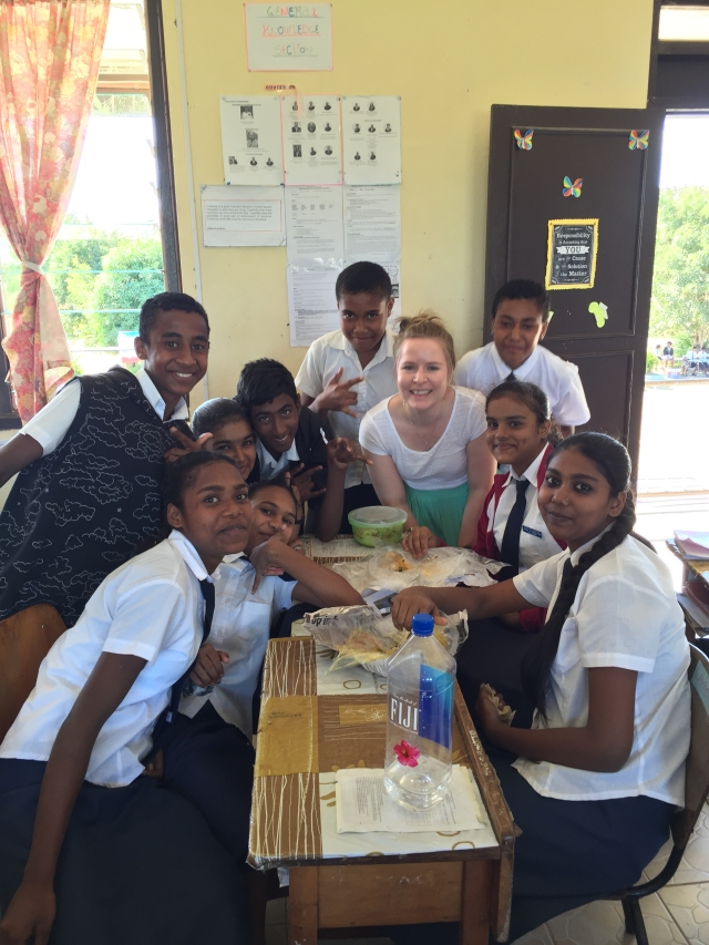 Amy with her students - sharing lunch
