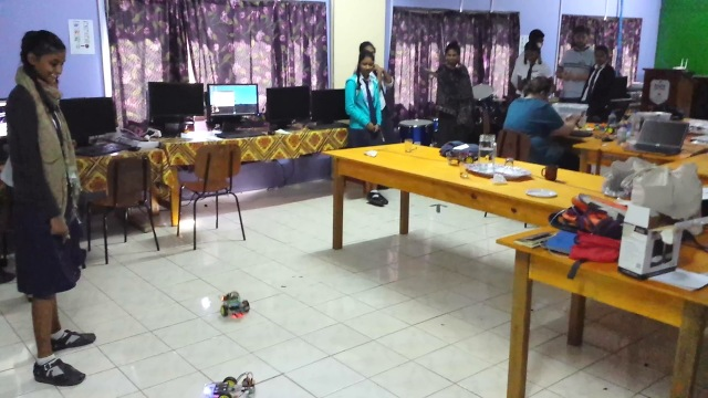 Students testing out their robots