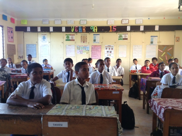 Attentive students in a science class