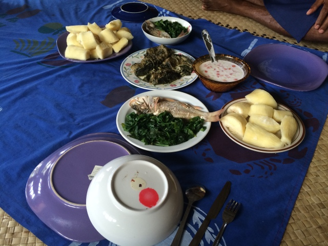 Fresh fish in lolo, and cassava from the family farm. Miri is an amazing cook!