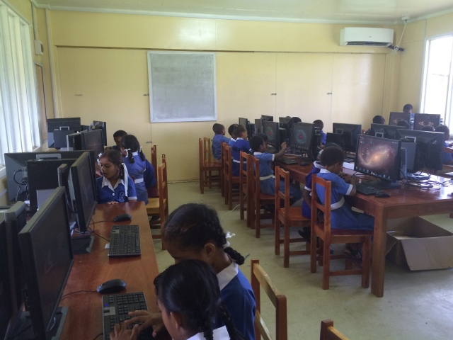 The students enjoyed practicing their typing skills by playing TuxTyping.