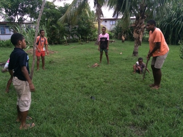 I taught the kids in the village how to play French cricket.