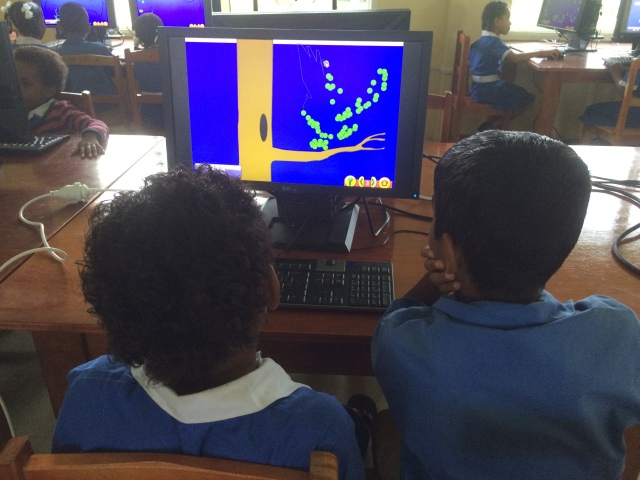 These students are practicing their mouse coordination and left-clicking skills with a dot-to-dot.