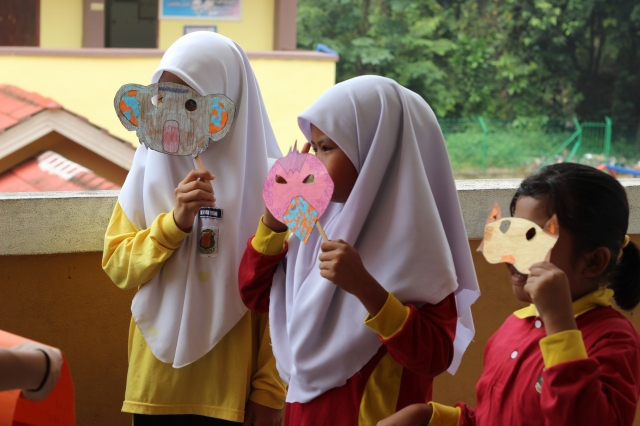 Class 3 students showing off their masks