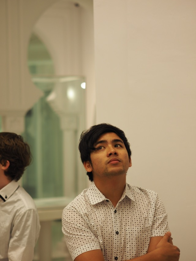 Afig deep thought at the Masjid Sultan Abdullah Pekan Museum (Photo: Richard Medland)