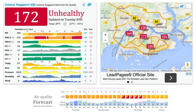 Relied on this site for pollution index updates: http://aqicn.org/